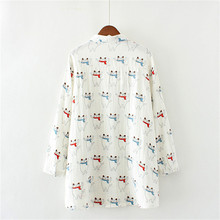 Women's Cotton Blouses with Cat Print