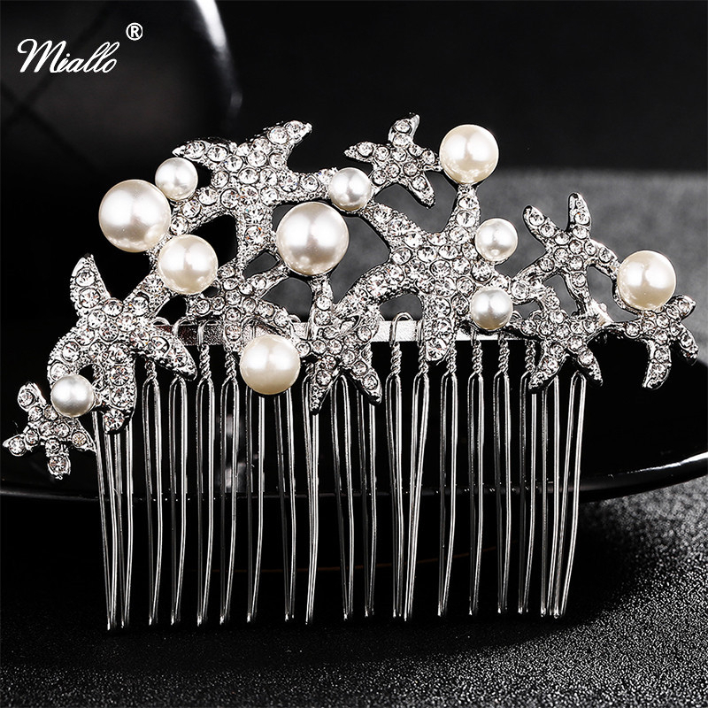 7fdd8b17be22 Miallo Wedding Bridal Hair Comb Starfish Bridesmaid Prom Crystal Jewelry  Combs Silver Plated Hair Accessories