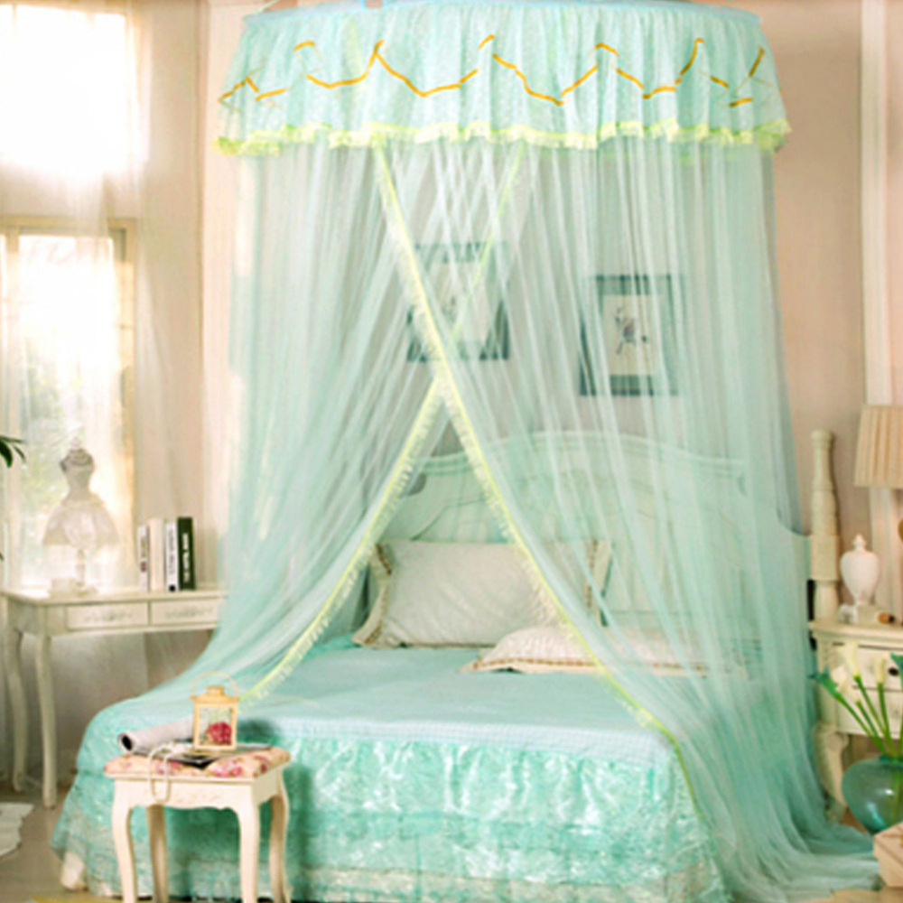 King Size Floral Princess Bed Canopy Mosquito Net Netting Bedroom Mesh  Curtains(China (Mainland