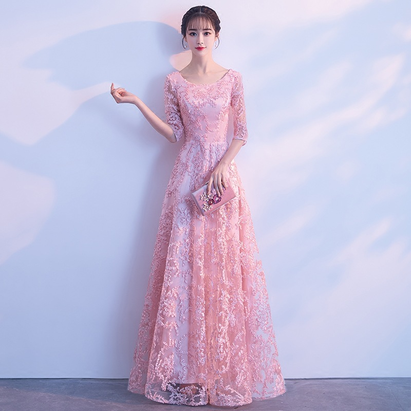 Improved O Neck Chinese Women Cheonsgam Elegant Full Length Evening Party Dress Vestidos Embroidery Bridesmaid Qipao