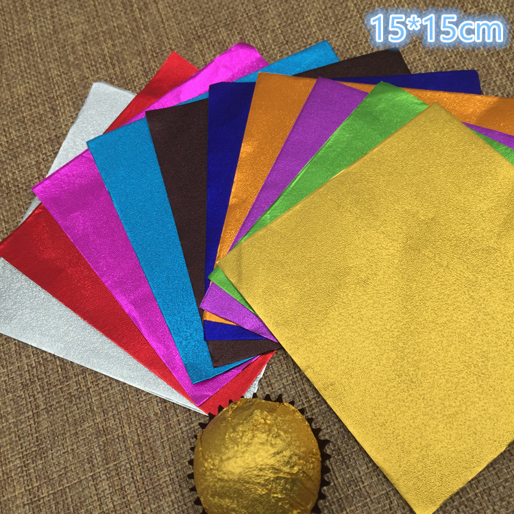 Retail 300Pcs/Lot 15*15cm 5.9x5.9 Multi Colored Foil Wrapper For Chocolates Candy Sweet Paper Square Colorful Tin Foil