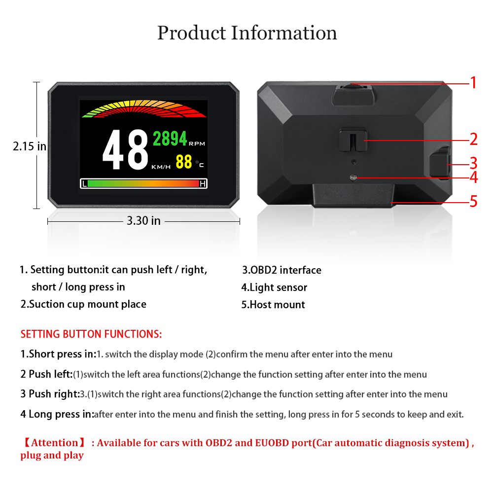 Image 5 - 2019  New Diagnostic Tool 48  Functions ECU Data OBD Digital Meter P16 OBD2 Trip Computer Clear The Fault Code With Directly-in Head-up Display from Automobiles & Motorcycles