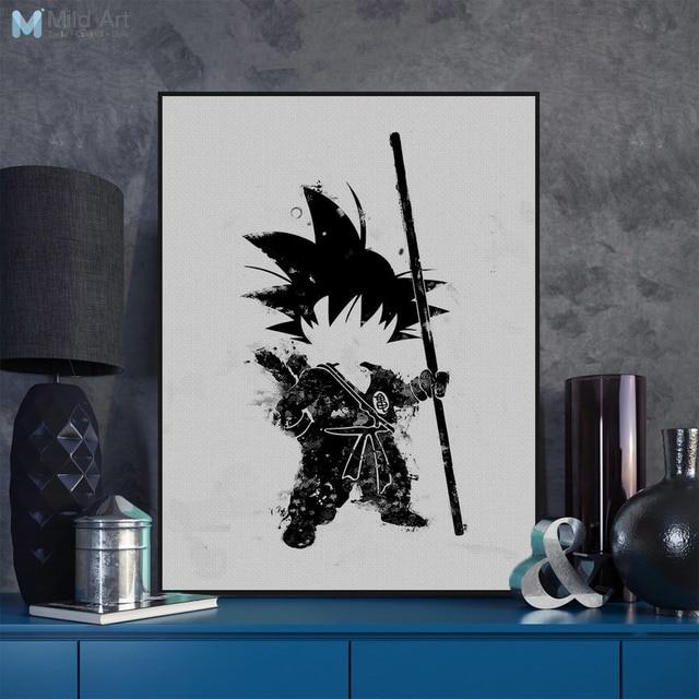 Pop Anime japonés Dragon Ball negro blanco Goku lienzo sin marco ...