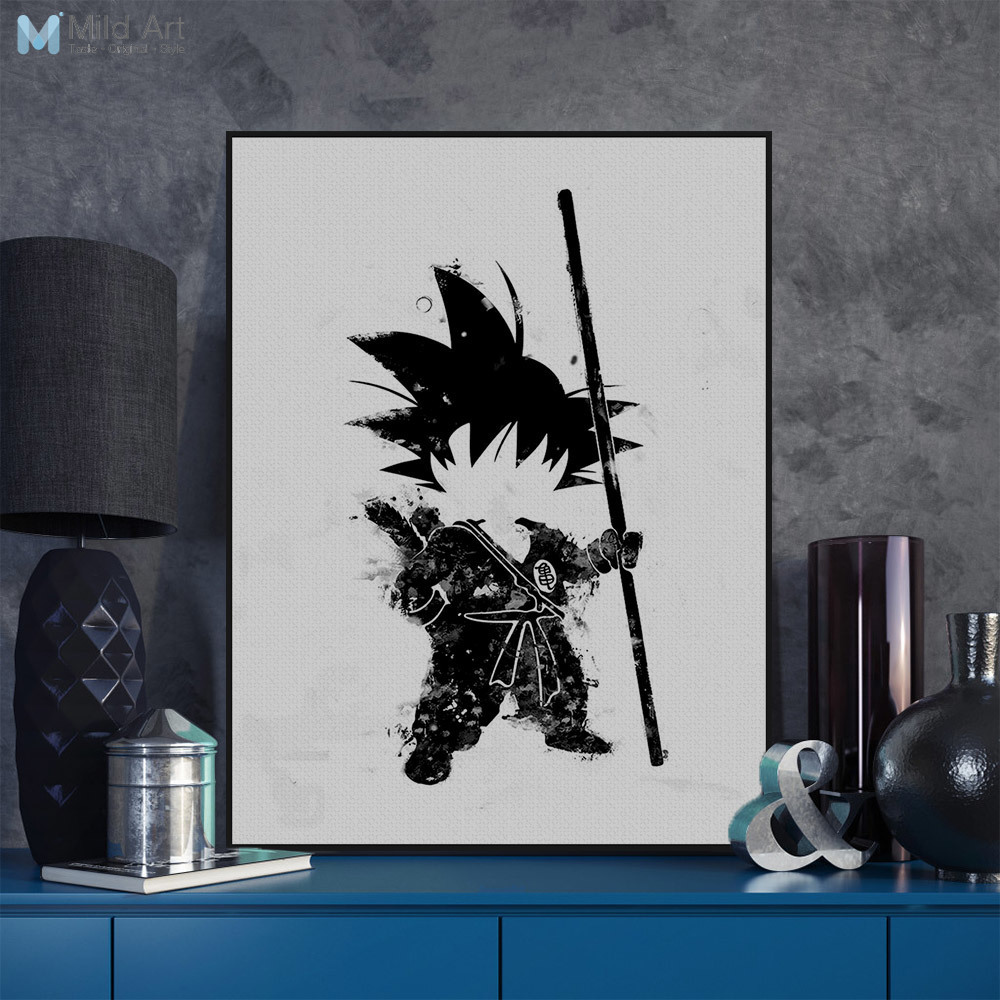 Pop japanese anime dragon ball black white goku canvas no frame large print poster wall picture nordic kids room decor paintings in painting calligraphy