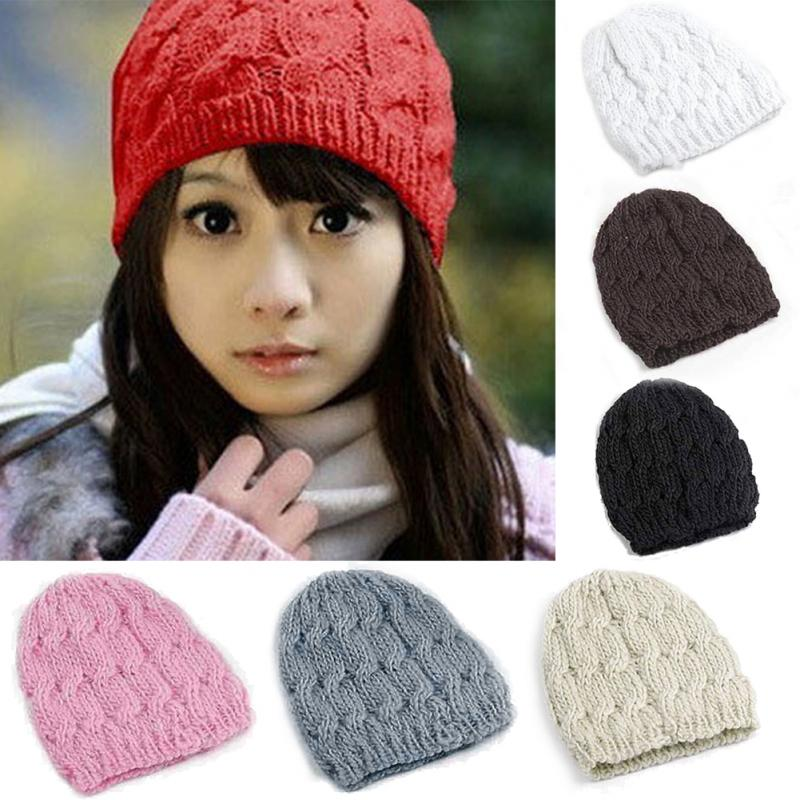 Fashion Hat 7 Color Women Winter Hats Knitted Wool Cap Crochet Hat Female Cap Feminino