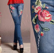 2017 Ethnic style women Mid Waist Jeans female Femme Floral Embroidery Casual Pencil Denim Pants s699