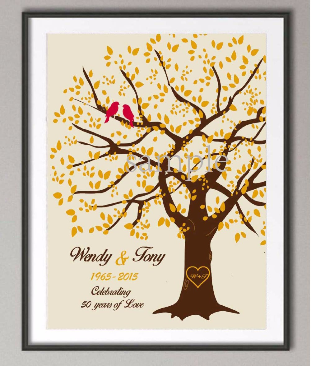 Wall Decoration For Wedding Anniversary : Th wedding anniversary gifts family tree poste print