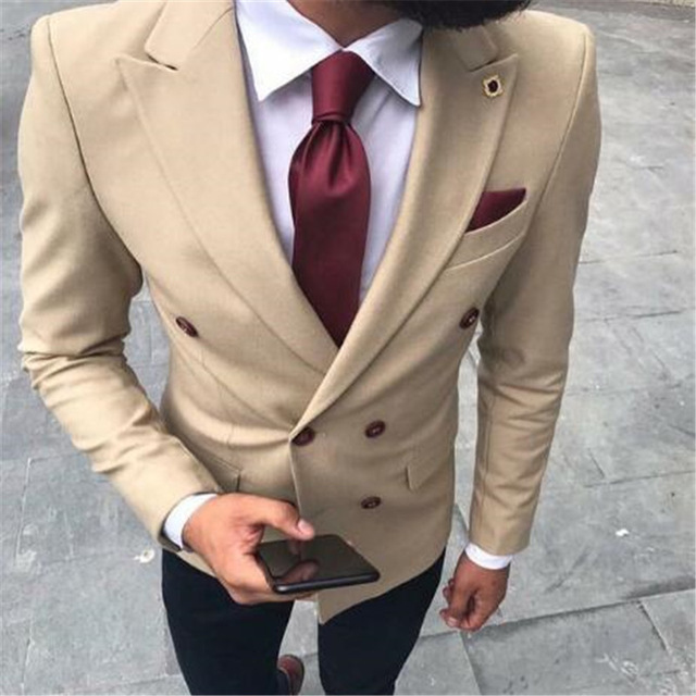 White Double Breasted Terno Bespoke Men Suits Fashion Slim Notch Lapel Latest Design Custom Made Blazer 2pieces(Jacket+Pant+Tie)