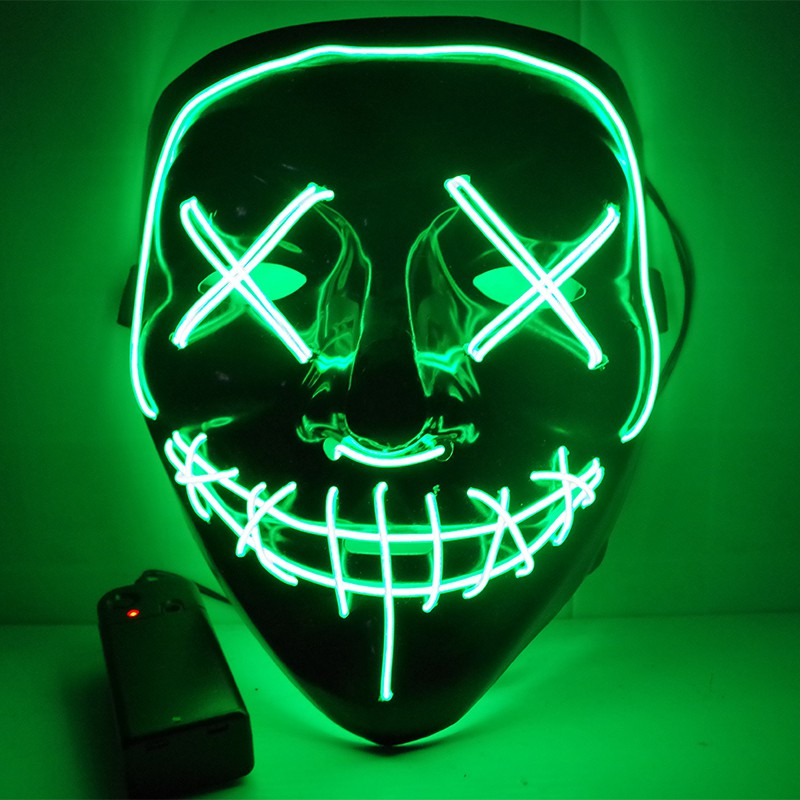 Funny Led Light Up Mask For Glow In Dark Halloween Festival Cosplay Costume Supplies The Purge Election 2018 New Year Party Mask Face Skin Care Tools