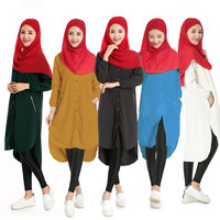 2017 חולצות ארוכות ארוך אסלאמי העבאיה נשים מוסלמיות הרמדאן מעילי בגדי צמרות חולצות גברת שיפון בגדי אינדונזיה דייהו nexia