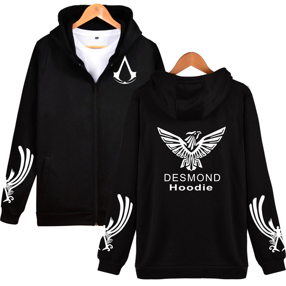 Hot Sale Assassins Creed Hoodies Men Zipper Hip Hop Black White Cotton RPG Game Casual Womens