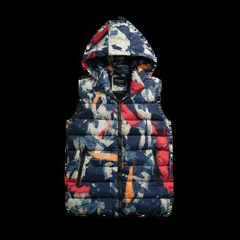 b Mens Women Couples vest Winter Fashion Casual Down Vest Men Camouflage Hoody Vests Man Cotton Sleeveless Waistcoat camouflage zip up furry hood down waistcoat