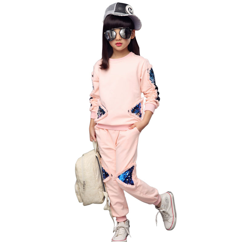 Girls Clothing Set Children Sequin Tracksuit 2018 Spring Kids Solid Sport Suit 2Pcs Coat+Pants Girls Clothes For 4 6 8 10 12 Y lavla 2015 new spring autumn baby boy clothing set boys sport suit children outfits girls tracksuit kids causal 2pcs clothes set