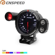 Medidor de tacômetro de alta velocidade, motor de passo medidor de rpm 80mm 7 cores 0 rpm 11000 metro com luz de aviso e pico aviso yc101357