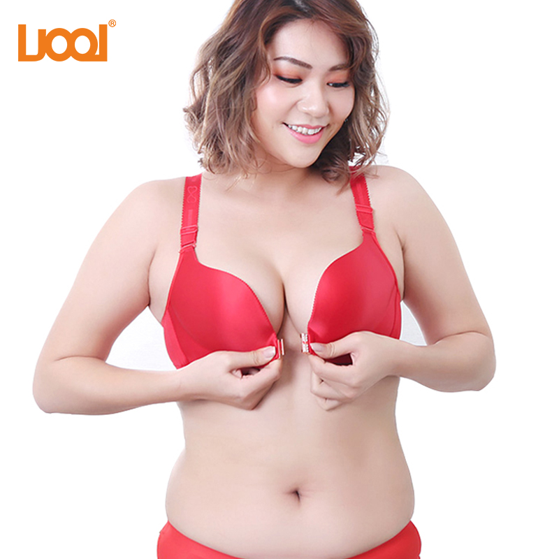 9eb4d6b8750 Women's Front Closure Bra Lace Seamless Comfortable Red Big Size Bra Top Super  Push Up Bras Ladies Bralett White Black