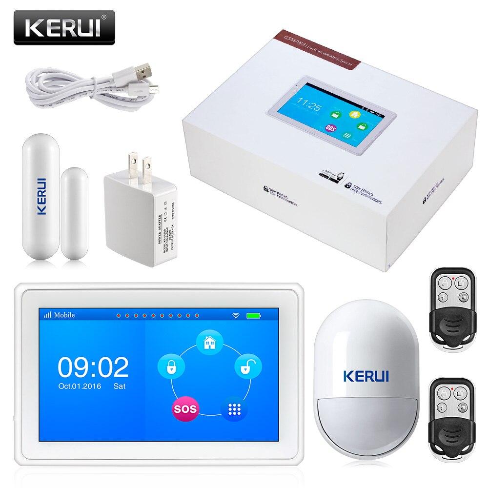 2017 KERUI K7 Incroyable Conception 7 Pouce TFT Couleur À Écran Plat WIFI GSM Système D'alarme de Sécurité Antivol Porte Capteur D'alarme