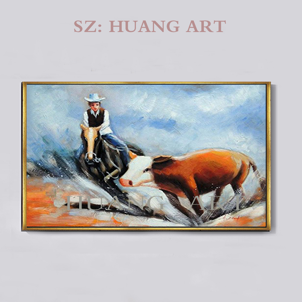 Animals hand painted people and horses American cowboy oil painting decorative canvas wall art clubhouse lobby hall sofa