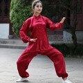 New Print Red Chinese Women's Kung Fu Suit Traditional Female Satin Tai Chi Wu Shu Set XXS XS S M L XL XXL XXXL 2526-1
