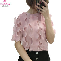 Yuxinfeng Summer Japanese T Shirt Women O Neck Short Sleeve Ruffles Korean Korea Fashion Casual Tunics