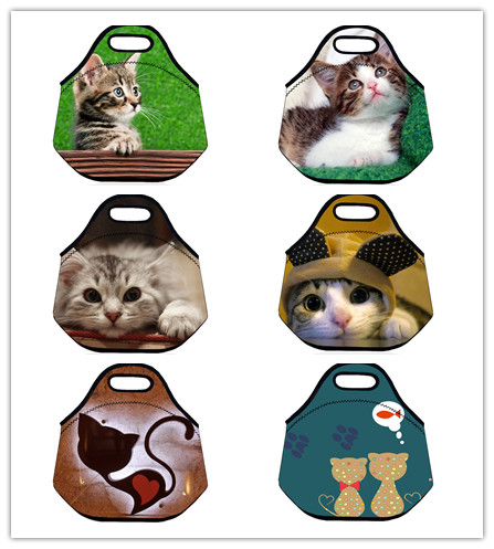 Cute Cat Thermal Insulated Neoprene Lunch Bag for Kids& Women Cute Animal Lunch Bags Tote With Zipper Storage Box Portable Bag