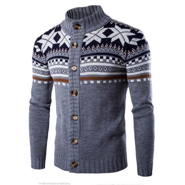 Recém Stylish Moda masculina Inverno Unhas Vento Geométrica Imprimir Camisola Pescoço Pulôver Outwear Jaqueta Blusa Plus Size Masculino Ponto15