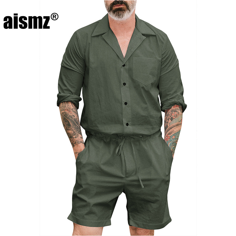 Aismz New Men's Summer Jumpsuit Cargo Short Pants Set Male Full Sleeve Overalls Mens Rompers Single Breasted Jumpsuits