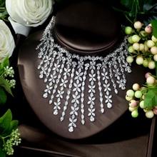 HIBRIDE حلية AAA زركون مجوهرات الأزياء مجموعات للنساء الزفاف الزفاف مجموعات 2 قطعة قلادة حلقة مجموعة النساء هدية N 1028
