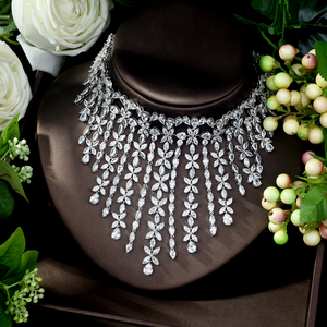 Image 1 - HIBRIDE Charm AAA Cubic Zirconia Fashion Jewelry Sets for Women Bridal Wedding Sets 2 Pcs Ring Necklace Set Women Gift N 1028