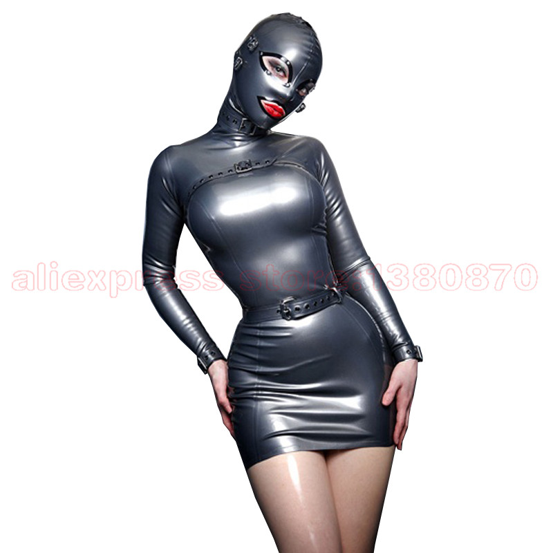 Sexy Latex Dress Attached to Hood Rubber Latex Women Tights Clothing Custom Made Plug Size XXXL S-LD060
