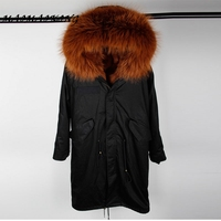 X long women parka Over the knee winter jacket real natural fox fur coat hooded thick warm outwear free shipping