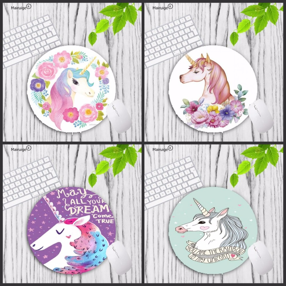 Mairuige Newest Cute Gaming Mousepad Unicorn Round Mouse-pad  Gaming Computer Gamer Mousepad For Laptop PC Notebook
