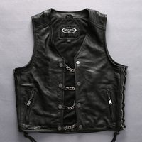 DHL Free Shipping 2019 Harley Angel Men Vest Genuine Leather Motorcycle Rider Chain Vest Thick Genuine Leather Sleeveless Jacket