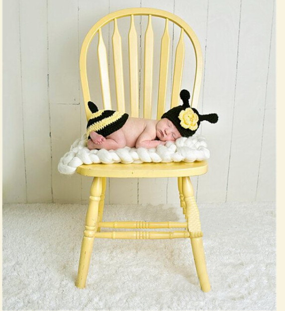 Cute Cartoon Baby Handmade Knitting Crochet Knit Bees onepiece Photo Photography Props Outfits Set For 0-1Month OR 3-4month
