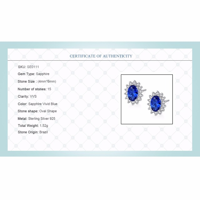 CZCITY New Natural Birthstone Royal Blue Oval Topaz Stud Earrings With Solid 925 Sterling Silver Fine Jewelry For Women Brincos 5