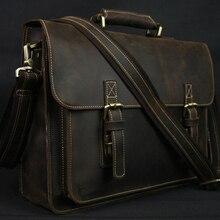 Винтажный кожаный мужской портфель Crazy Horse, сумка для ноутбука, деловая сумка, портфель из натуральной кожи, мужская сумка через плечо, сумка через плечо