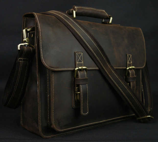 Vintage Crazy Horse Leather Men's Briefcase Laptop Bag Business Bag Genuine Leather Briefcase Men Shoulder Bag Crossbody bag