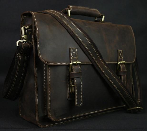 Couro de Cavalo Louco do vintage dos homens Pasta Laptop Bag Bolsa de Negócios Pasta de Couro Genuíno Bolsa de Ombro Homens saco Crossbody