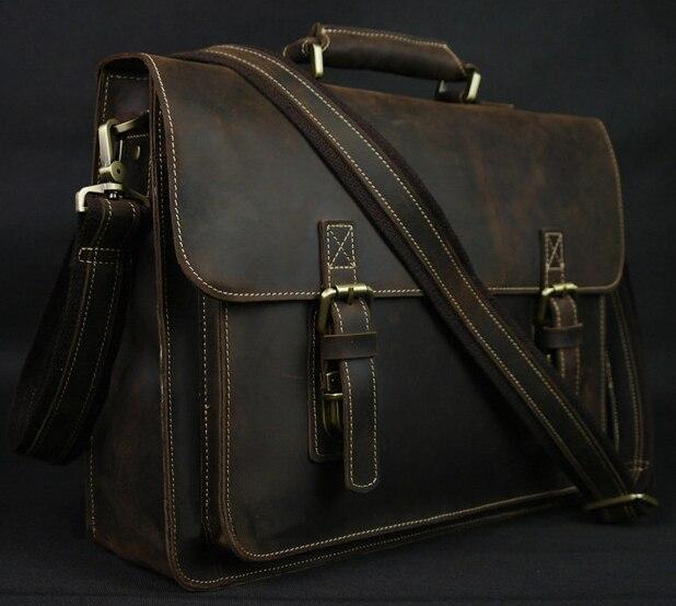 Bagaj ve Çantalar'ten Evrak Çantaları'de Vintage Çılgın At Deri erkek Evrak Çantası laptop çantası Iş Çantası Hakiki Deri Evrak Çantası erkek omuz çantası Crossbody çanta'da  Grup 1