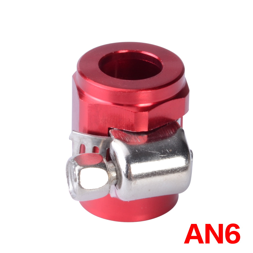 Oil Fuel Hose Clamp Finisher HEX Finishers Red Aluminum Connectors AN6 Clamps