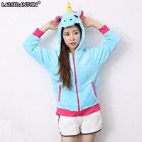 LAISIDANTON Winter Harajuku Blue Pink Star Unicorn Hooded Sweatshirts Women Casual Hoodies Long Sleeves Unicornio Kawaii