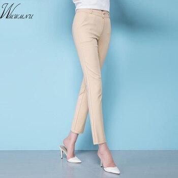 ניו אופנה נשים אלגנטי OL למתוח מכנסיים גודל גדול גבירותיי אלסטיים מותן מקרית מכנסיים נקבה משרד עבודת כותנה מכנסיים
