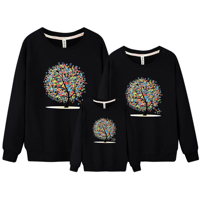 3 pcs/set Family Sweatshirt Tree Top Warm Thick Cotton Black Sweatshirt Couple Mother Father Son Daughter Matching Family Cloths
