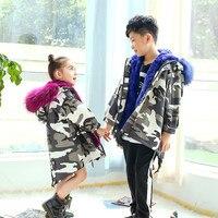 Детские зимние штаны Теплая парка для девочек с натуральным кроличьим мехом пальто детей Повседневное Camoflage печати теплая плотная Куртка В