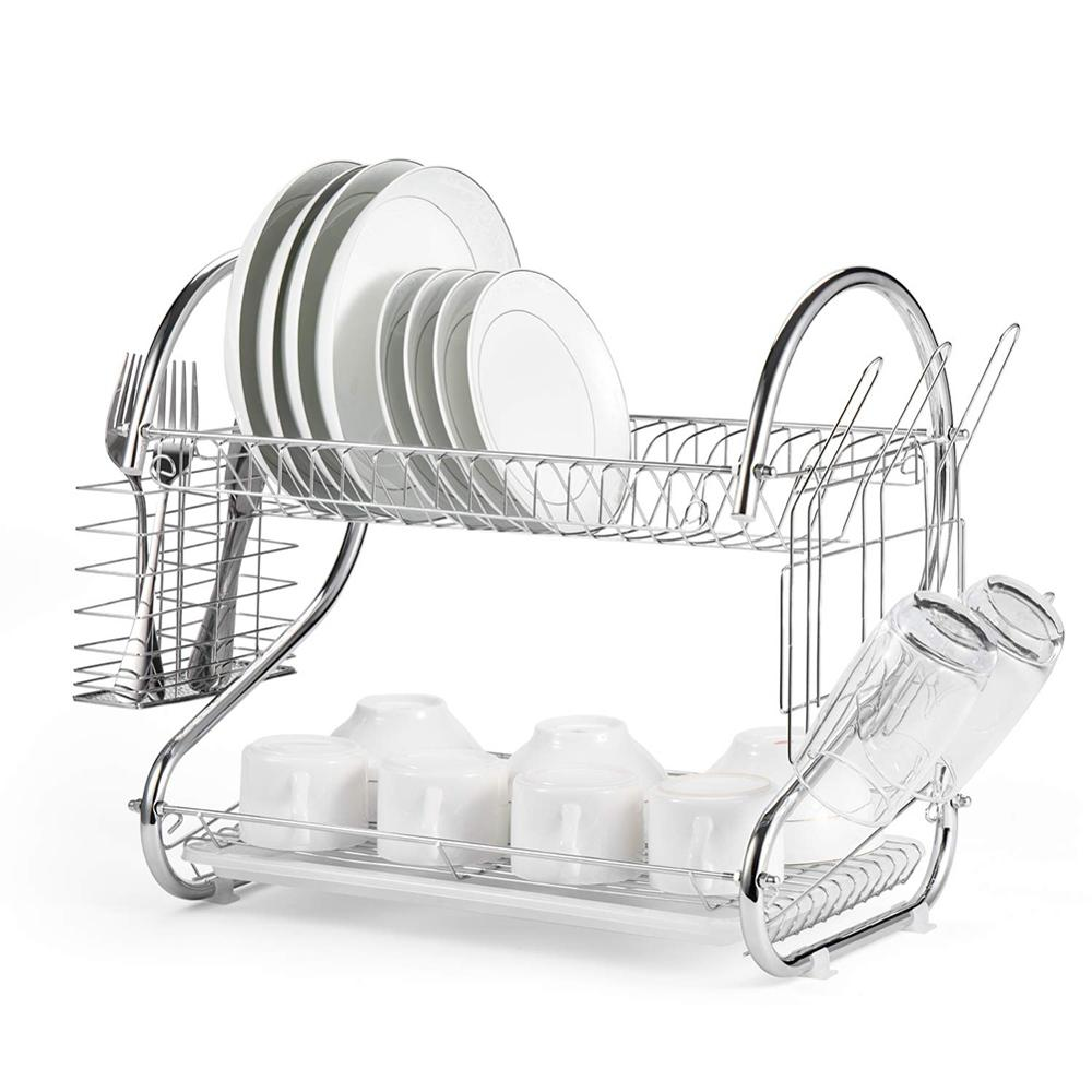 2-Tier Deluxe Stainless Steel Dish Drainers Dish Drying Rack Basket Shelf Drainer For Dishes Plates Bowls Cups Kitchen Organizer
