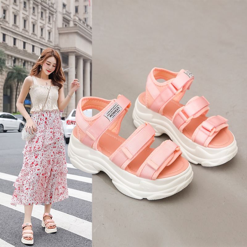 Fashion Women Sandals Platform Wedges Girls Shoes Thick Heel Lace Up Outdoor Breathable Female Beach Sport Sandals Size 35-39
