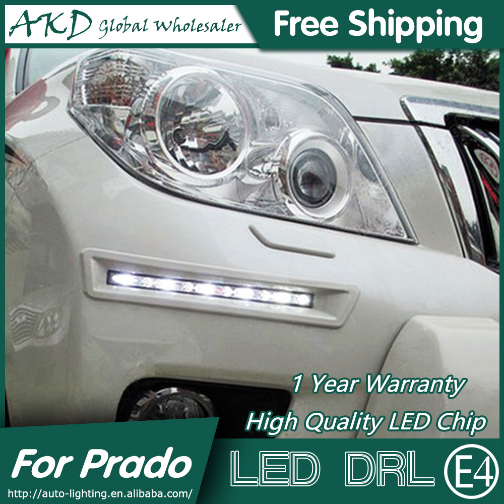 AKD Car Styling LED Fog Lamp for Toyota Prado DRL 2010-2012 Prado LED DRL Daytime Running Light Fog Light Parking Accessories car styling led drl daytime running light fog lamp for toyota prius 2010 2011 2012 led fog light day light drl auto accessories