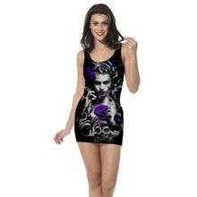 3D Print women clothing tank top dress Gothic sexy girl straight sleeveless Quality quality skull rose skirt Dropshipping
