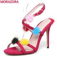 MORAZORA Big size 34 43 New 2018 summer buckle strap sheepskin leather high heels women sandals suede sexy party wedding shoes