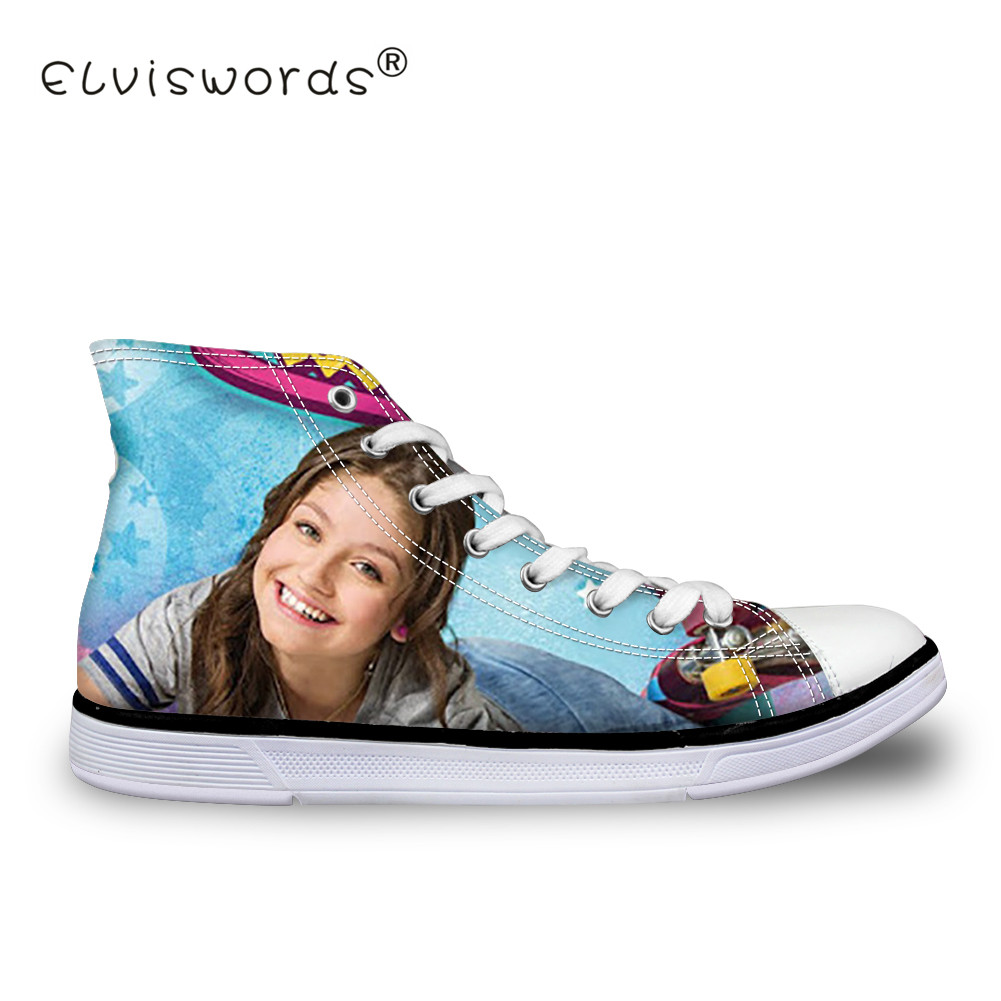 все цены на ELVISWORDS Soy Luna Girl Printing Women's Vulcanize Shoes Teenagers High Top Canvas Shoes for Students Fashion Summer Flat Shoes