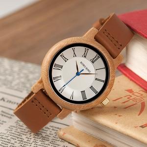 Image 4 - BOBO BIRD Q15 คลาสสิกหนังไม้นาฬิกาควอตซ์นาฬิกาสำหรับคนรัก reloj pareja hombre y mujer